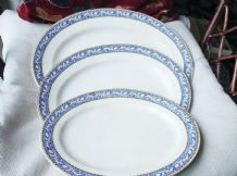 3 X VERY OLD RARE GRADUATED PLATTERS WEDGWOOD 2197 BLUE BLACK GILDED RIM